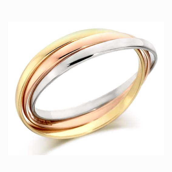 410 - Tri-colour Russian wedding rings, each ring 2mm wide.