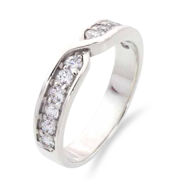 620 -Twist shaped wedding ring with channel set diamonds.