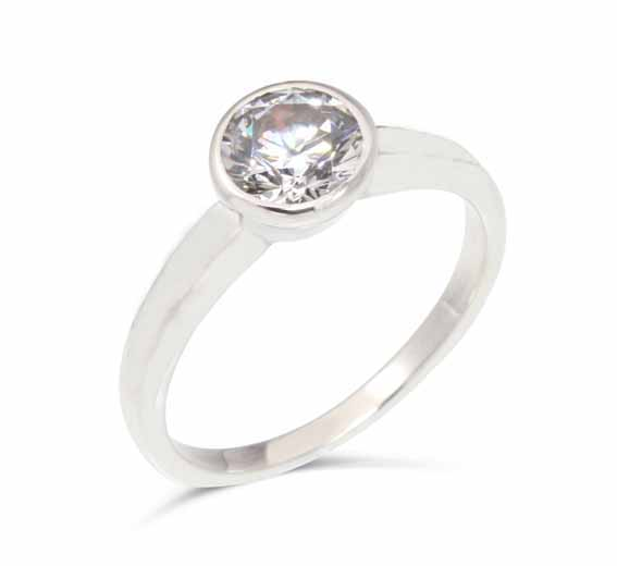 ER114 Solitaire diamond in a rubover setting