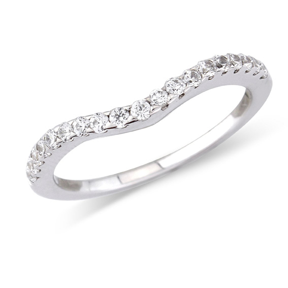 318 - Narrow shaped wedding ring  with pavé set diamonds