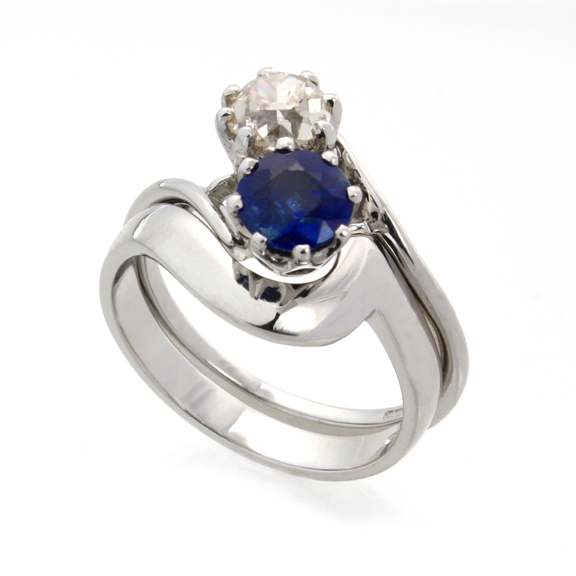 Sapphire and diamond engagement ring and wedding ring