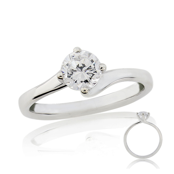 ER130 Solitaire diamond engagement ring on a twist