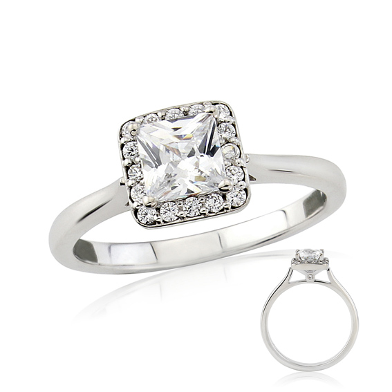 ERDCL16 Square princess cut halo engagement ring