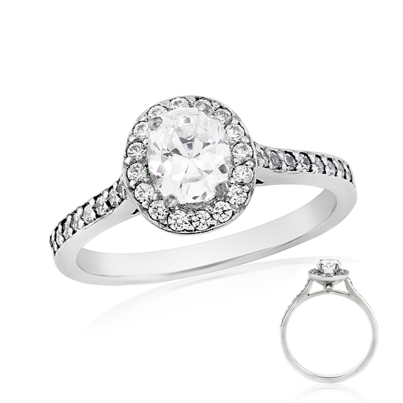 ERDCL12 Oval shaped diamond halo engagement ring