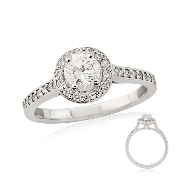 ERDCL6 Claw set round diamond halo engagement ring