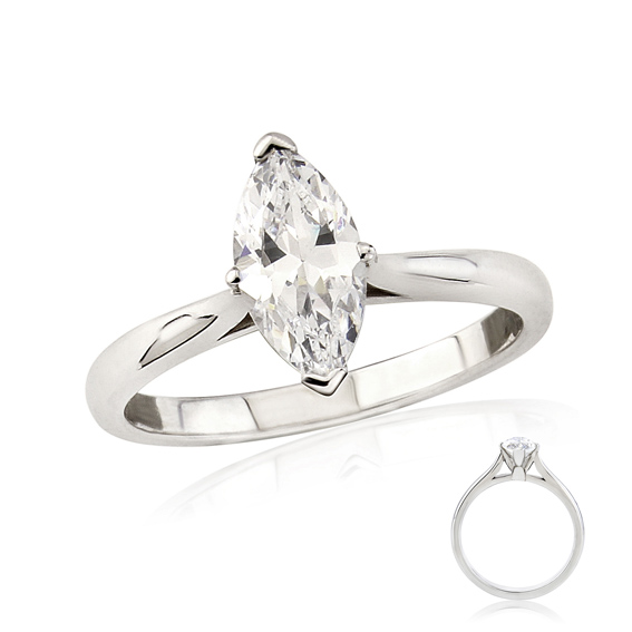 ER142 Marquise diamond solitaire engagement ring
