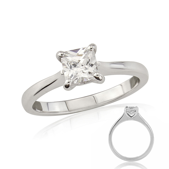 ER133 Square princess cut solitaire engagement ring