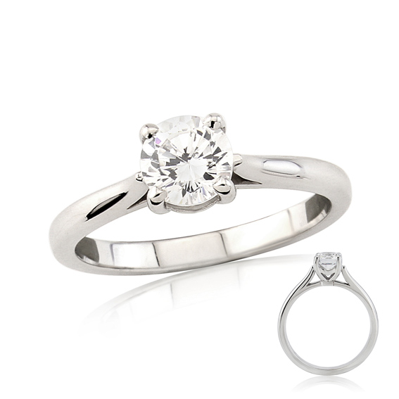 ER131 Four claw round diamond solitaire engagement ring