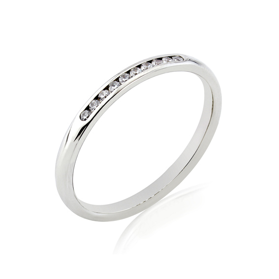 KM100 2mm eternity ring with ten channel set round diamonds