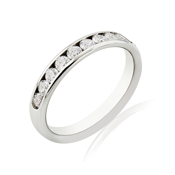 KM103 3.3mm eternity ring with ten channel set round diamonds