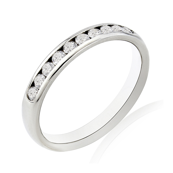 KM102 3mm eternity ring with ten channel set round diamonds