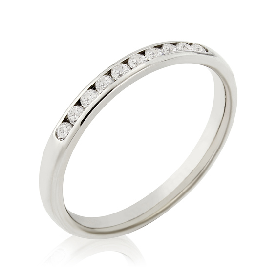 KM101 2.3mm eternity ring with ten channel set round diamonds
