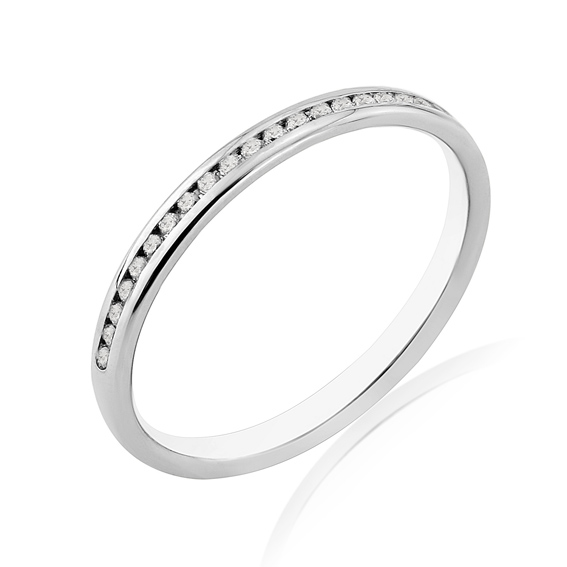 KM110 2mm half eternity ring with round channel set diamonds
