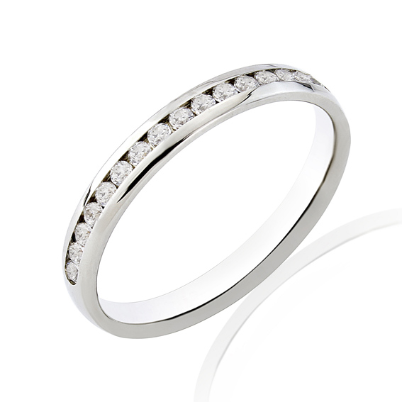 KM114 2.7mm half eternity ring ring with round channel set diamo