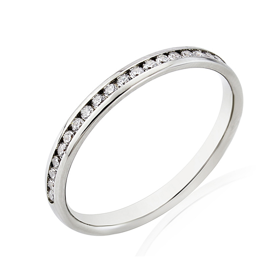 KM112 2.2mm half eternity ring with channel set round diamonds