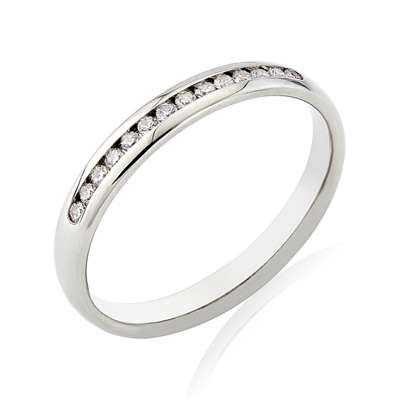 KM113 2.7mm third eternity ring with channel set round diamonds