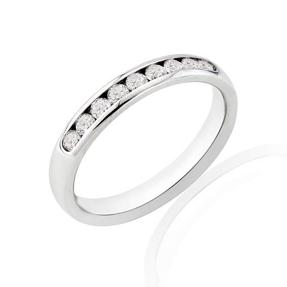 KM115 3mm third eternity ring with channel set round diamonds