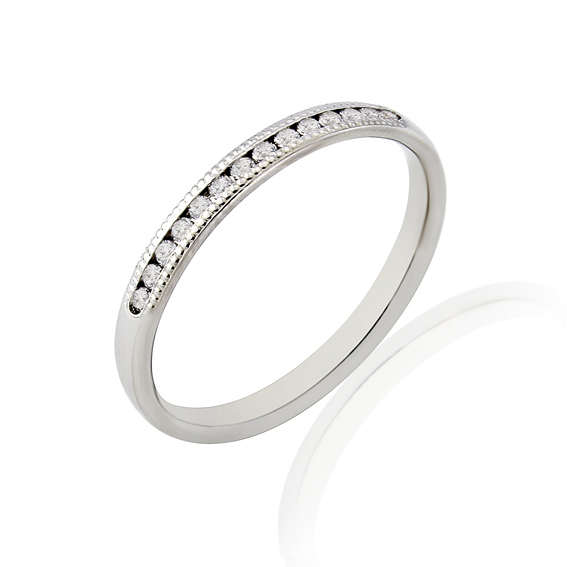 KM111MG 2.2mm third eternity ring with millgrain edges