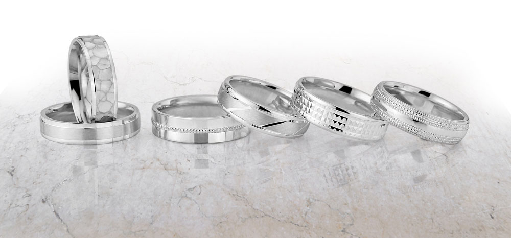 Cooljoolz Wedding Rings, diamond cut patterns