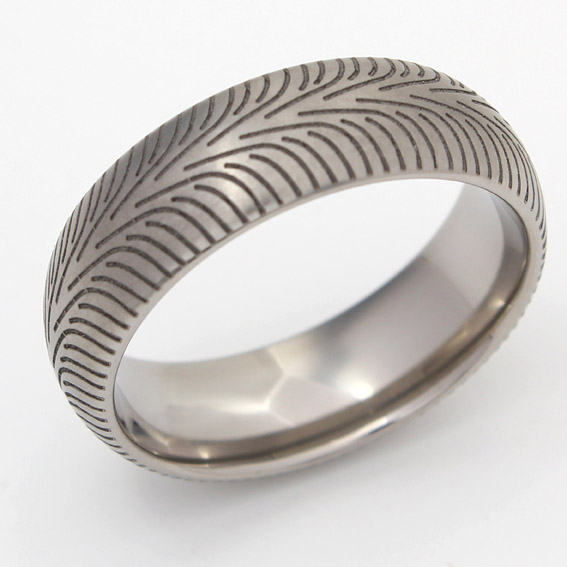 Tyre pattern wedding ring
