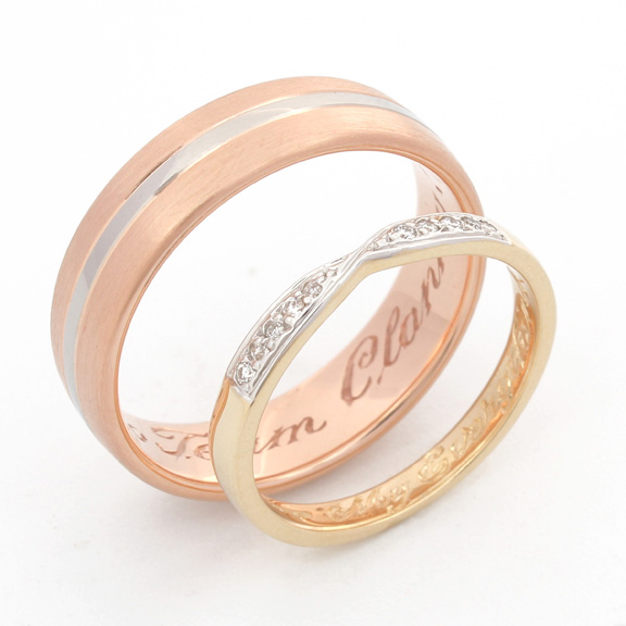 Rose gold yellow gold wedding rings