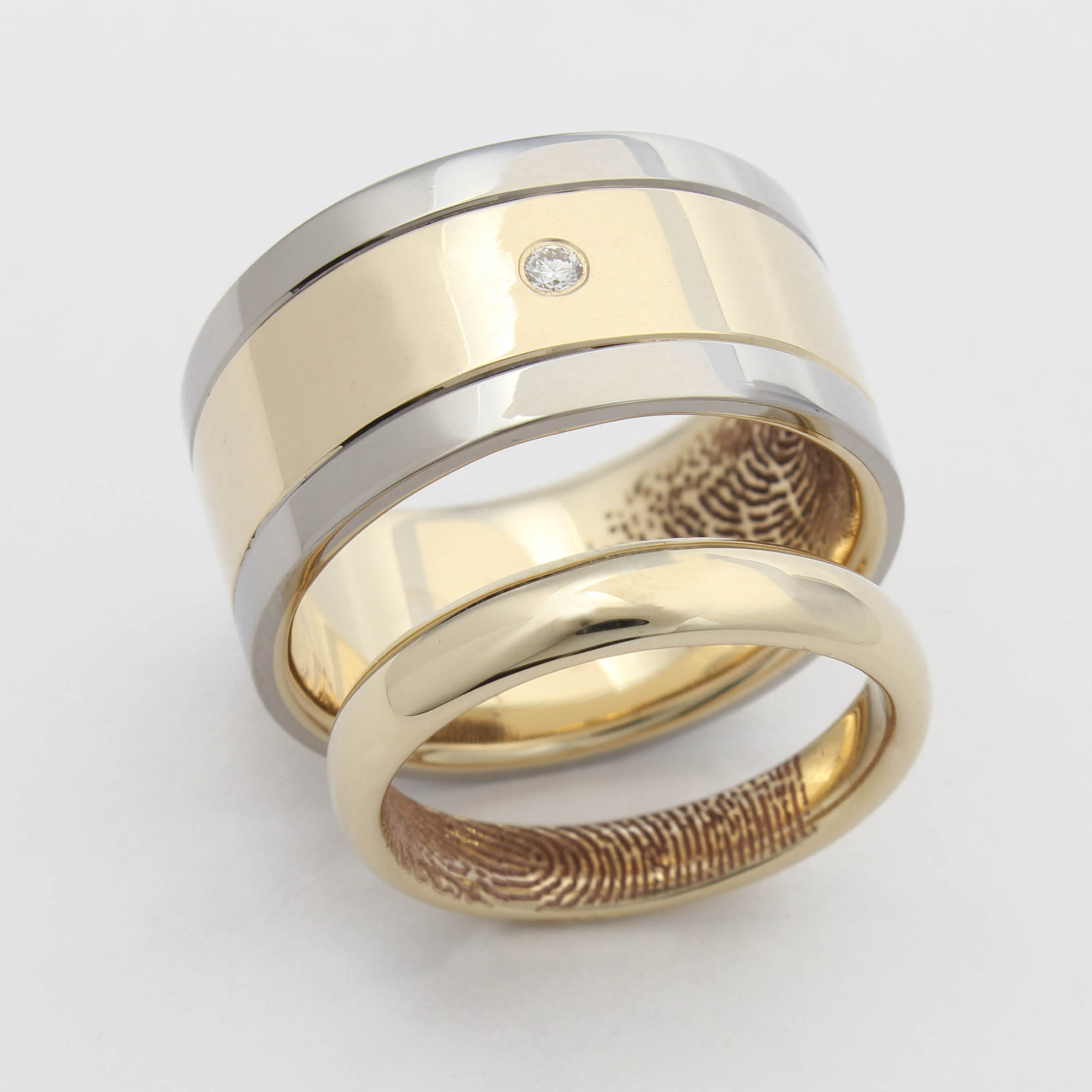 Remodelled family jewellery and two tone wedding ring