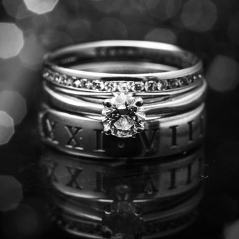 Roman Numeral wedding rings