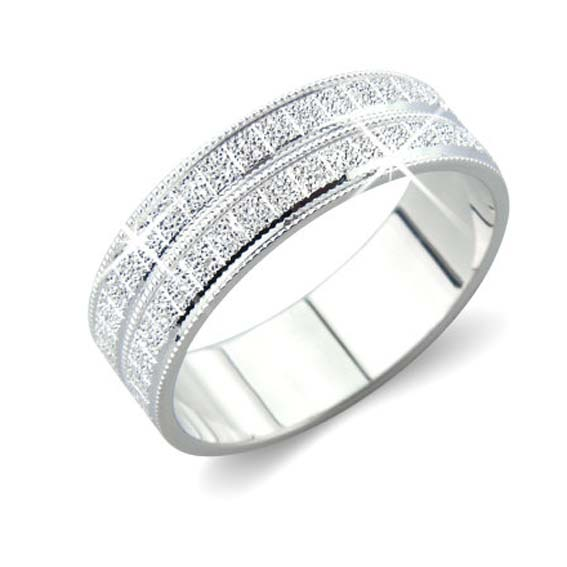 BL1 - Diamond cut pattern all around ring. Only available in 6mm